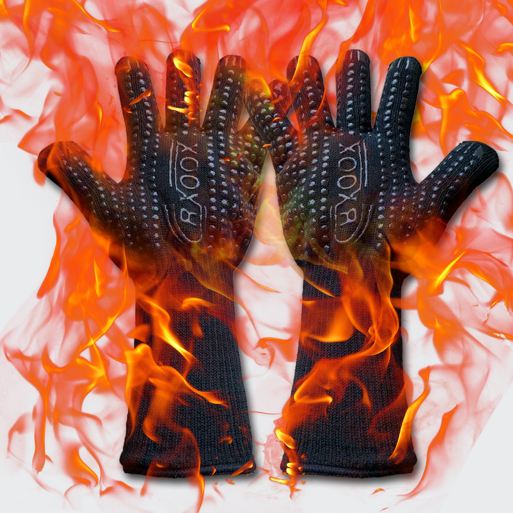 For Kitchen Camping Fireplace Pit Baking Barbecue Outdoor Gants  Heat Resistant Gloves Aramid Silicone Safety Mitts Work Glove