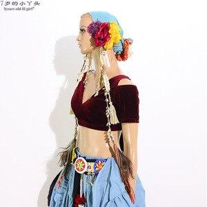 Image 3 - Danse du ventre velours grosse Chance Tribal Choli danse du ventre Costume manches courtes Top CJJ02