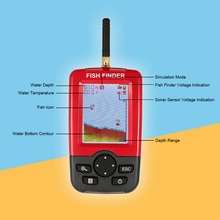 Lixada 2.8In LCD Fish Finder Wireless Sonar Sensor Echo Sounder Fishfinder with Backlight Fish Alarm 45m Depth Locator Pesca