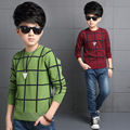 Green/Wine Red 2016 Toddler Boys Winter New Korean Style Cotton Long Sleeve Pullovers O-neck Thickening Plaid Keep Warm Sweaters