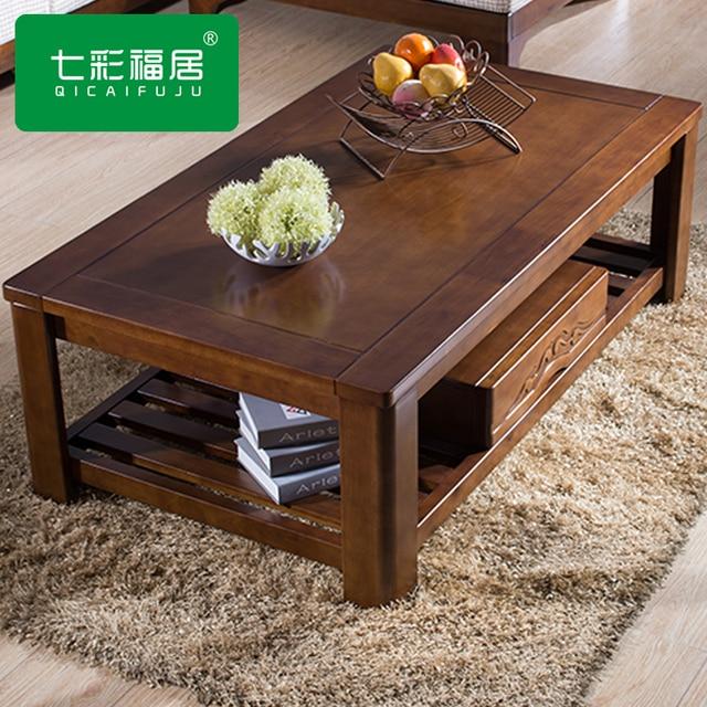 Mesas de sala de estar uspirit slida rodada camura for Mesas de madera para sala
