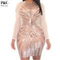 2016 Summer Women XXXL Plus Size Rose Gold Geometric Pattern Sequin Bodycon Dress Womens Sexy Dresses Party Night Club Dress