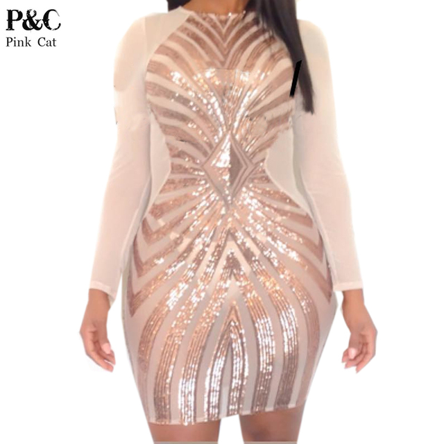 0d740fb1db 2016 Summer Women XXXL Plus Size Rose Gold Geometric Pattern Sequin Bodycon  Dress Womens Sexy Dresses