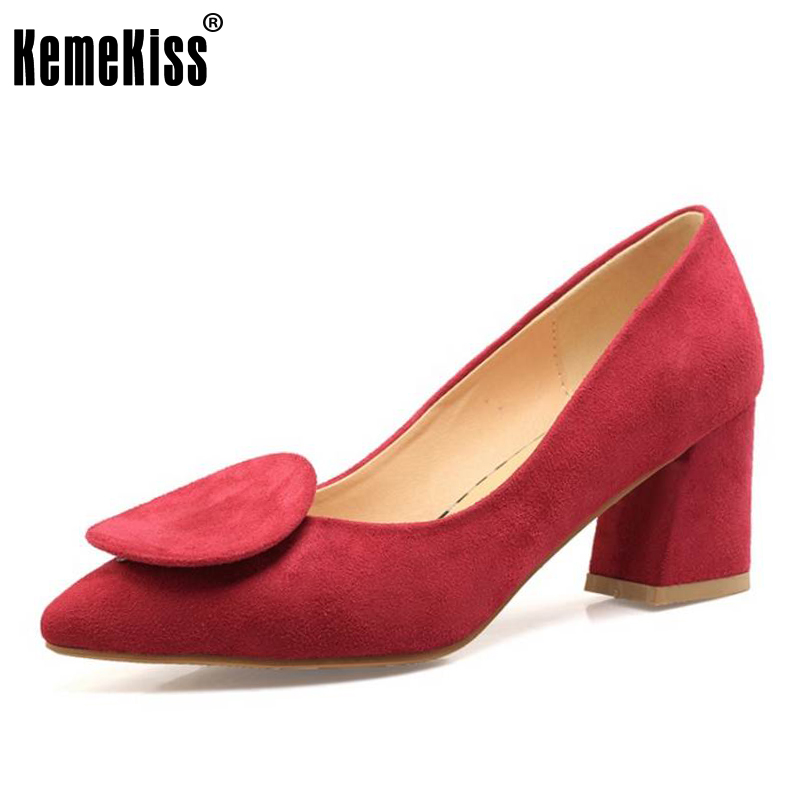 KemeKiss Size 33-46 Women Pointed Toe High Heels Shoes Bowknot Basic Pumps Thick Heel Office Lady Shoe Women Concise Footwear women s geniune leather high heels shoes women pointed toe pure color high heeled pumps office lady sexy footwear size 33 40