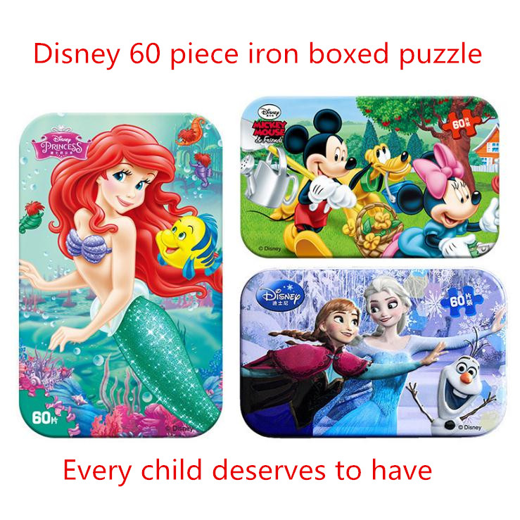 Disney Princess Frozen Cartoon Toy Iron Box Wooden Puzzle Anna Elsa Learning Educational Toys Children Birthday Gift 60 Pieces
