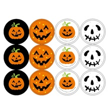10PCS Halloween Theme Sticker Candy Bag Bottle Cookie Box Decoration DIY Gift (12 Stickers / Pieces)