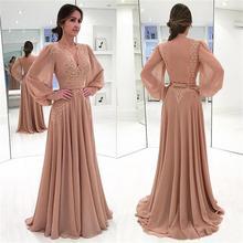 Мусульманские Вечерние платья трапециевидной формы с v-образным вырезом шифоновая с длинными рукавами кружева ислам Дубаи Саудовской Аравии длинное официальное вечернее платье
