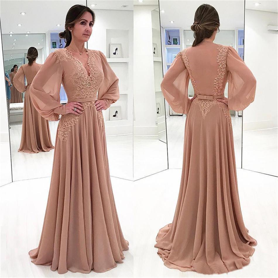 Muslim Evening Dresses 2019 A-line V-neck Long Sleeves Chiffon Lace Islamic Dubai Saudi Arabic Long Formal Evening Gown a-line