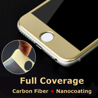 New! Carbon Fiber Full Cover Tempered Glass Screen Protector for iPhone6 6s 6Plus 6sPlus 7 7plus Colors Arc Edge Protective Film