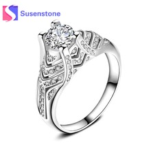 2018 Fashion Jewelry Women Wedding Rings Female Silver Brilliant Stackable White CZ Ring Jewelry Luxury Design Anillos Size 6-10(China)