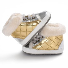 High-cut Shoes Sneaker Anti-slip Plaid Velvet Winter Warm Shoes Baby Toddler Boys Crib Shoes