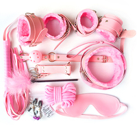 10pcs/set Pink Bondage Restraints Bdsm Collar Strapon Handcuffs for Sex Nipple Clamps Mouth Gag Hand Cuffs Whips Fetish Lingerie