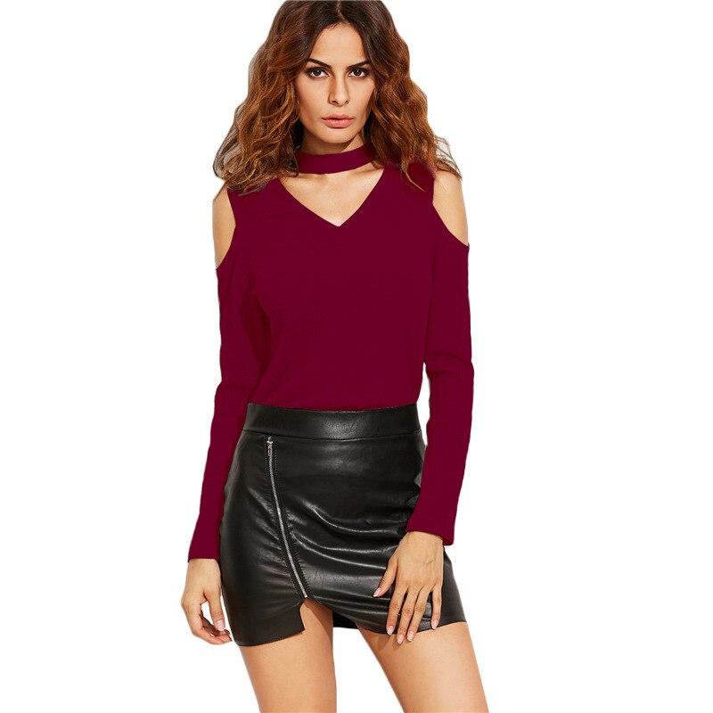 2017 Spring Women Choker T Shirt V Neck Long Sleeve Casual Choker Top Black Open Shoulder Ribbed Tee Shirt Femme Tees