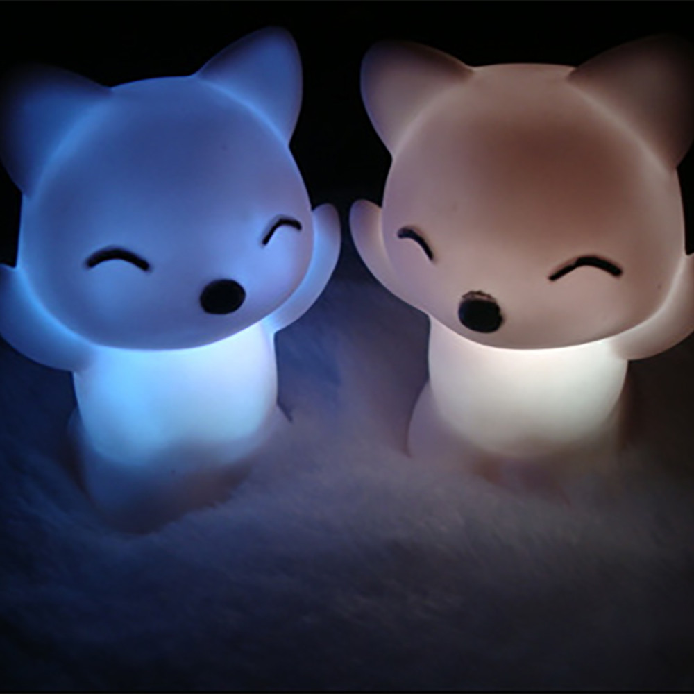 7 Changing Colors Lovely Fox Shape LED Night Light  silicone touch sensor led night light baby