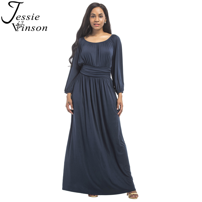 Jessie Vinson Fashion Women O-neck Long Puff Sleeve Maxi Dress Solid Loose Engagement Wedding Party Long Dress