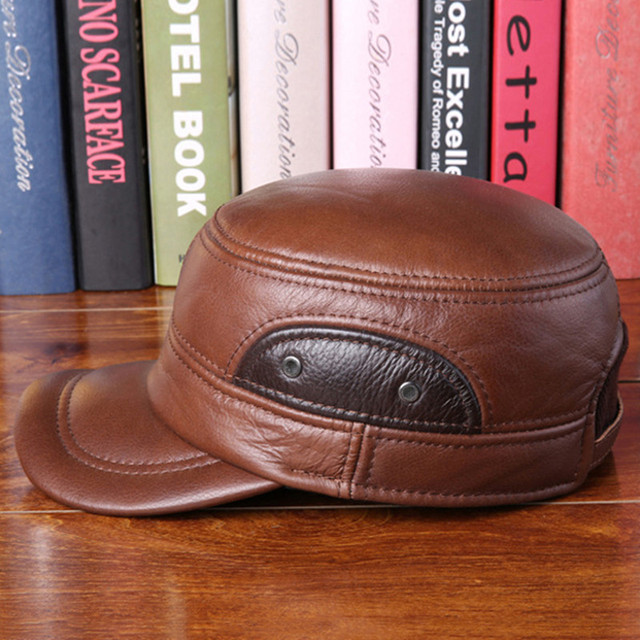 3f5cb597375 Genuine Cowhide Leather Baseball Cap With Earmuffs Luxury Men Winter Warm  Peaked Caps Vintage Adjustable Newsboy
