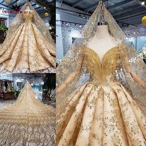 Image 3 - 100% prawdziwe zdjęcia luksusowe suknie ślubne Ball suknia Golded puszyste cekiny Tulle kryształ frezowanie 2020 nowy Custom Made SK02