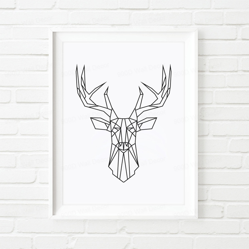 Modern Nordic Minimalist Triptych Original Design Geometric Reindeer Art Canvas Print Wall Painting Posters for Chic Home Decor  line art