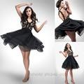 Vestido De Festa Corto Short Sleeve Open Back Black Lace Cocktail Dress