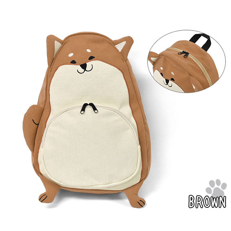 Japanese Style 2 Color Shiba Inu Backpack Women Girl Student Kids Bag Schoolbag Cute Gift cutie dog shiba inu big smile face canvas backpack canvas school bag xmas gift 45x32x12cm