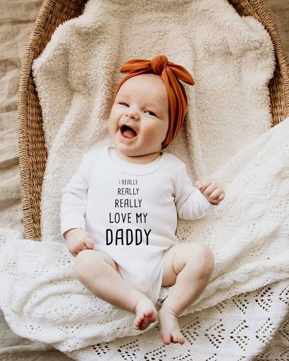 Infant <font><b>Body</b></font> Long Sleeve Clothing Jumpsuit I Really Really Love My Dad Letter Cotton <font><b>Baby</b></font> Boy Girl Bodysuits Kids Bodysuits image