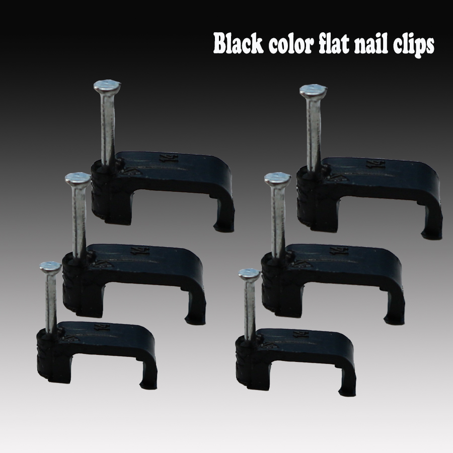 500pcs/pack blackPE Plastic 4/6/8/10/12/12/14mm flat Cable Clip C Shaped High Carbon Steel Nails Cable clips Wire Wall holder