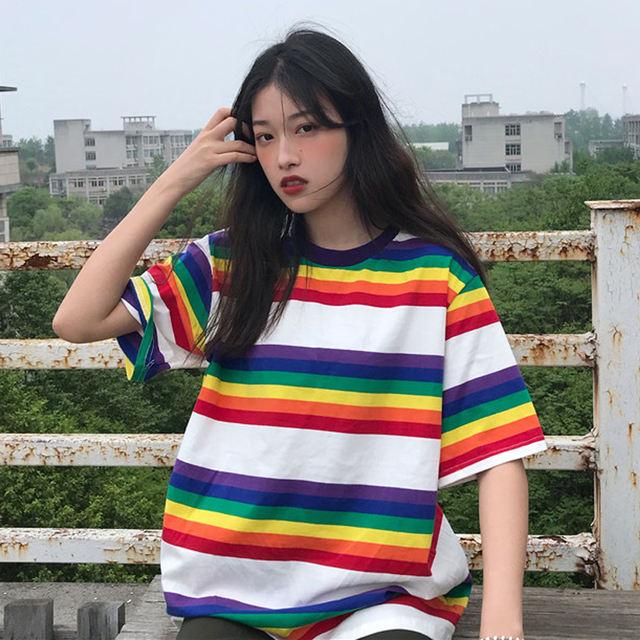 KOREAN STYLE RAINBOW T-SHIRT