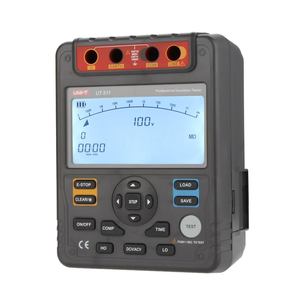 Digital Megger Insulation Resistance Tester Megohmmeter Auto Range 1000V 10Gohm uni t ut501a megger insulation resistance tester digital megohmmeter with test voltage range 250v 500v 1000v