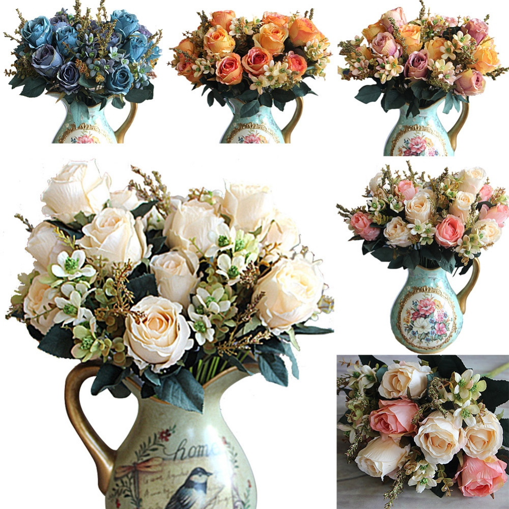 5 colors artificial rose flowers decoration fleur for Artificial flowers for wedding decoration