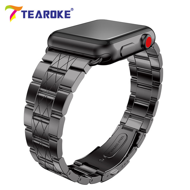 TEAROKE 3 Pionter Stainless Steel Watchband For Apple Watch Series 3 2 1 38mm 42mm 316L Metal Replacement Band Strap for iwatch