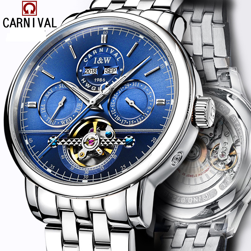 цена на Carnival Watch Men tourbillon Automatic Mechanical Luminous Silver Stainless Steel Waterproof multifunction Blue Dial Watches