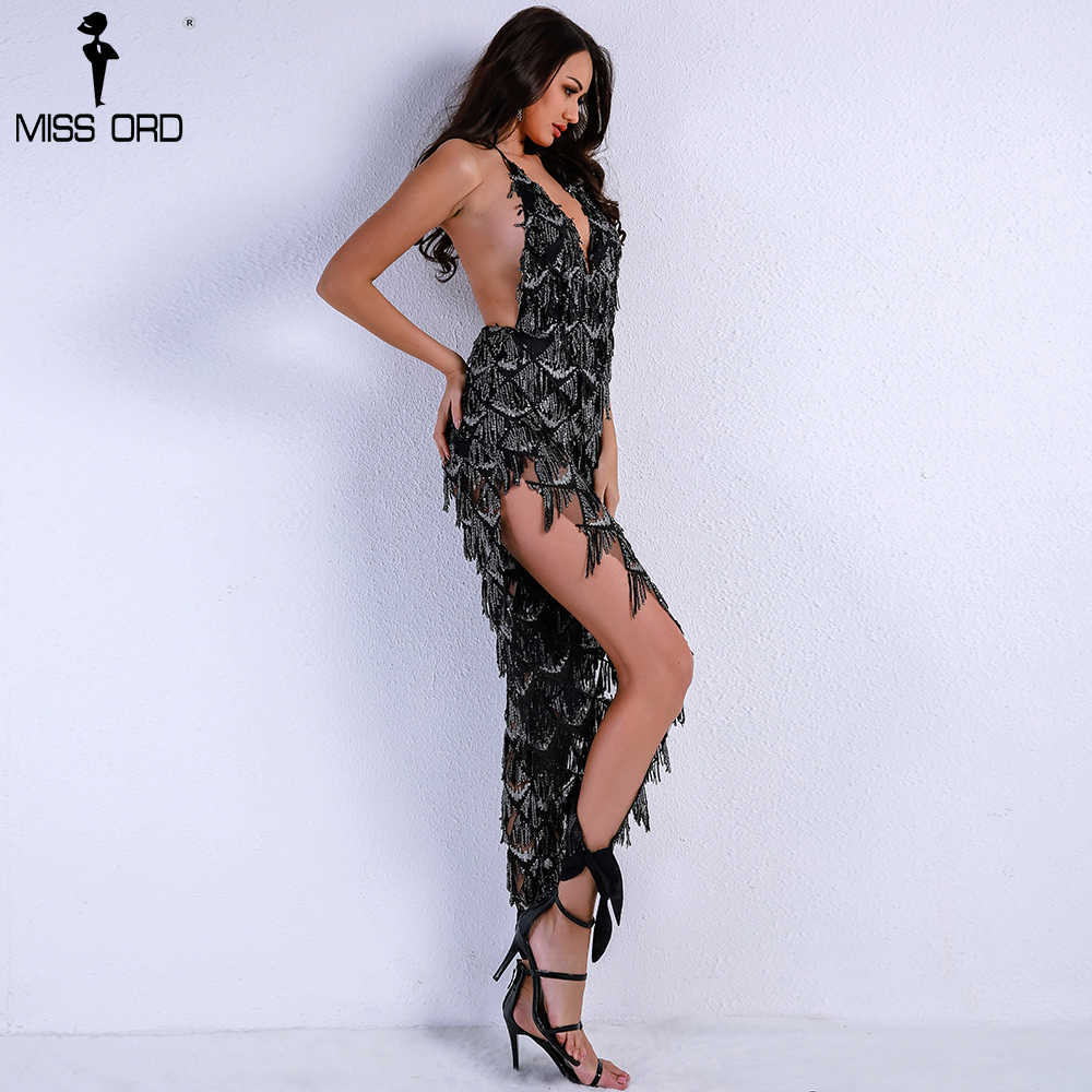 053f1cadbc6 ... Missord 2019 Women Sexy Off Shoulder Deep V Sequin Rompers Playsuits  Elegant Backless Overalls Split Halter ...