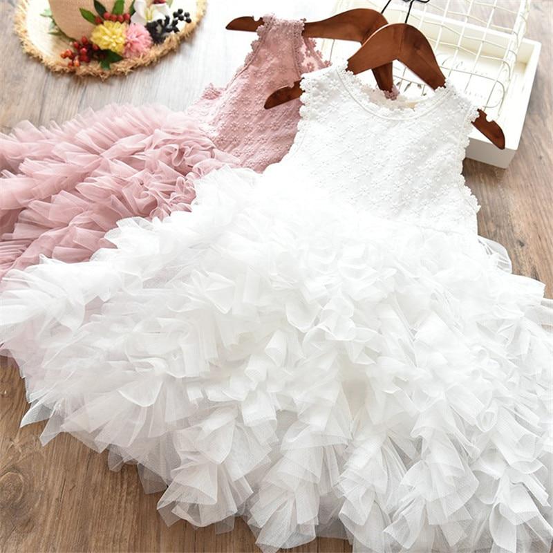 2018 Frühling Mädchen Kleid Neue Spitze Blume Prinzessin Kleid Winter Langarm Dreidimensionale Blütenblätter Pompon Net Garn Mädchen Kleidung