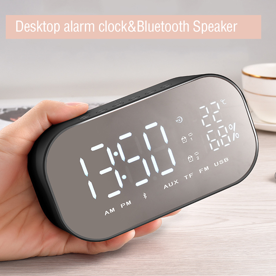 Drahtlose Musik Player LED Wecker mit FM Radio Wireless Bluetooth Lautsprecher Unterstützung Aux TF USB für Büro Schlafzimmer-in Wecker aus Heim und Garten bei  Gruppe 1