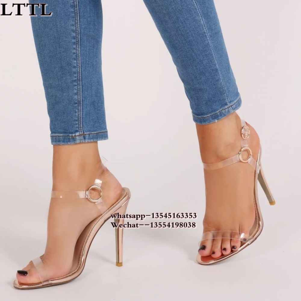fc147fb8f544 Black Summer Women Sandals PVC Thin High Heel Crystal Clear Transparent  Sandals Concise Buckle Ankle Strap Pump Wedding Shoes-in High Heels from  Shoes on ...
