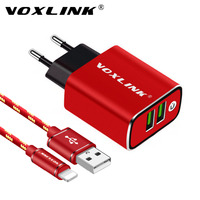 VOXLINK Dual Ports Usb Charger Wall Charger 5V3 1A EU Plug Travel USB Charger For IPhone