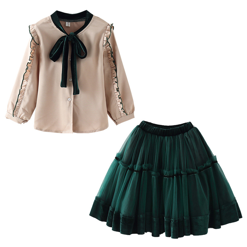 Teen Girls Clothing Set Kids Clothes Ruffle Shirt Mesh Skirt Suit Children Costume 2019 Autumn Girls Outfits 6 8 10 12 Year in Clothing Sets from Mother Kids