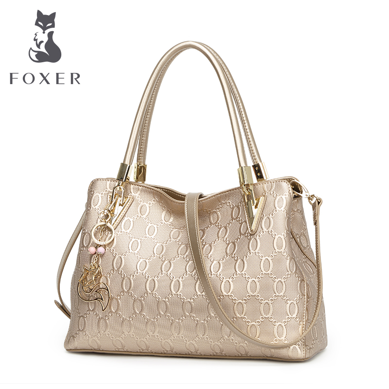FOXER Brand Women Shoulder bags New Design Leather Handbag Lady Fashion and Leis