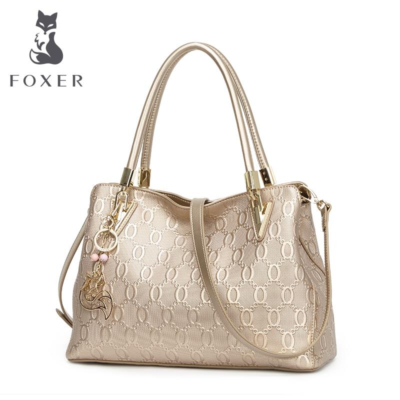 FOXER Brand Women's Cow Leather Shoulder bags New Design Handbag Fashion Female Shoulder bag all-match Women's Bag foxer women bag 2016 new cow leather handbag fashion long wallet banquet hand bag