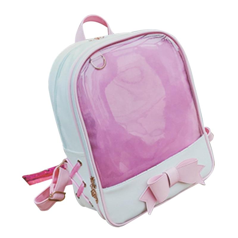 Cute Clear Transparent Bow Backpack Harajuku School Bags For Teenage Girls Rucksack Kids <font><b>Kawaii</b></font> Backpack