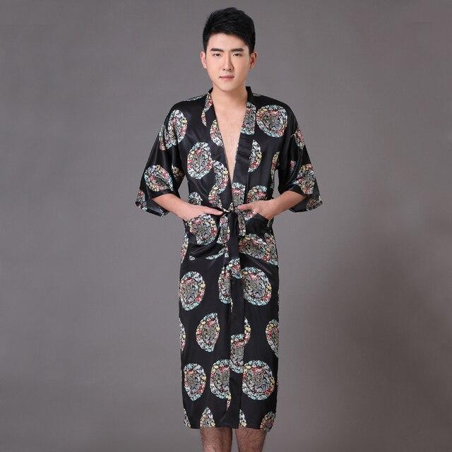 New Black Men's Faux Silk Kimono Bathrobe Gown Summer Casual Sleepwear Chinese Style Dragon Robe Size S M L XL XXL XXXL MP064