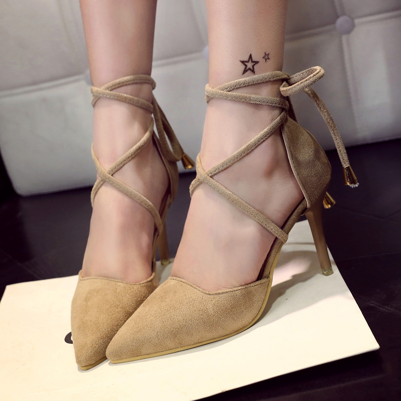 High Quality Brand Pointed Toe Women Pumps Summer Fashion High Heels Shoes Back Strap Thin Heels Pumps Solid Shoes 11