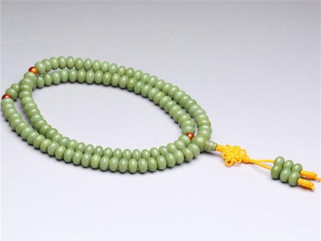 BRO685 буддистский 108 семена Бодхи Четки Мала 8X6 мм зеленый Talipot Palm Бодхи браслет
