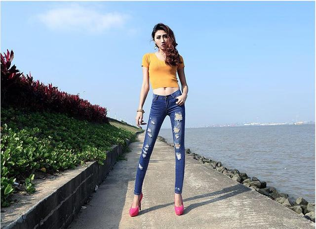Woman Real Special Offer Regular Fake Zippers Spring 2016 Women's Wear Low-rise Jeans Female Irregular Leisure Trousers D45