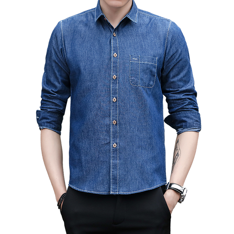 8850f7c56 Denim Shirt Men 2018 New Solid Color Cotton Jeans Shirts Fashion Simple Blue  Casual A Man Brand Clothing Long Sleeve Cool Shirt