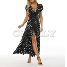 CUERLY Women Boho Polka Dot Summer Beach Long Dress Evening Party V-Neck High Waist Split A Line Maxi Prairie Chic Femme