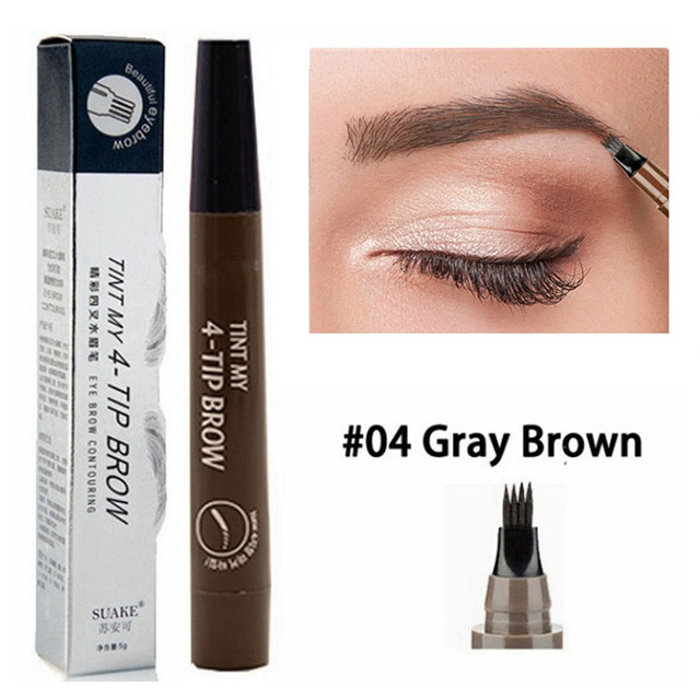 5 Colors Eyebrow Pen Waterproof 4 Fork Tip Eyebrow Tattoo Pencil Cosmetic Long Lasting Natural Dark Brown Liquid Eye Brow Pencil 4