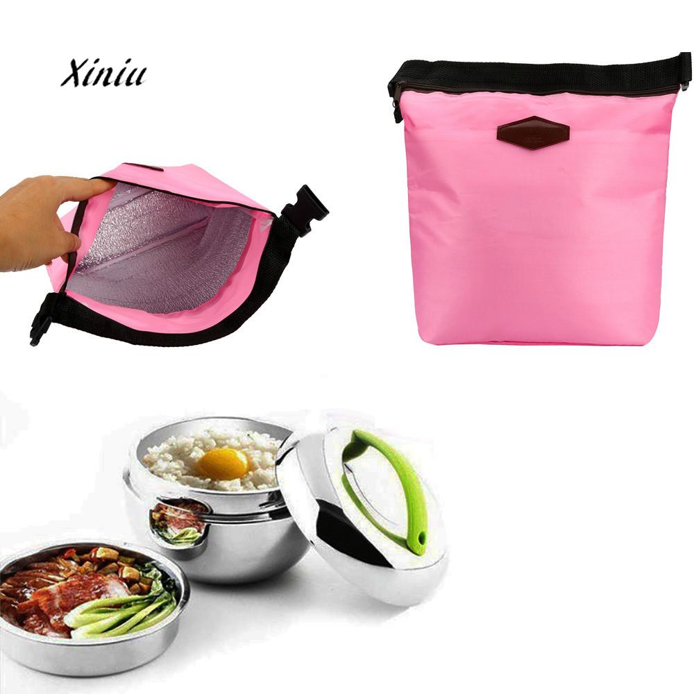2018 New Arrival Portable Lunch Bag Packet Waterproof Thermal Cooler Insulated Lunch Box Portable Tote Storage Food Picnic Bags denim lunch bag kid bento box insulated pack picnic drink food thermal ice cooler leisure accessories supplies product