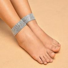 цена на Encrusted Anklet Fashion Retro Full Drill Multi-layered Bare Anklet Punk Exaggerated Encrusted  Anklets Chain