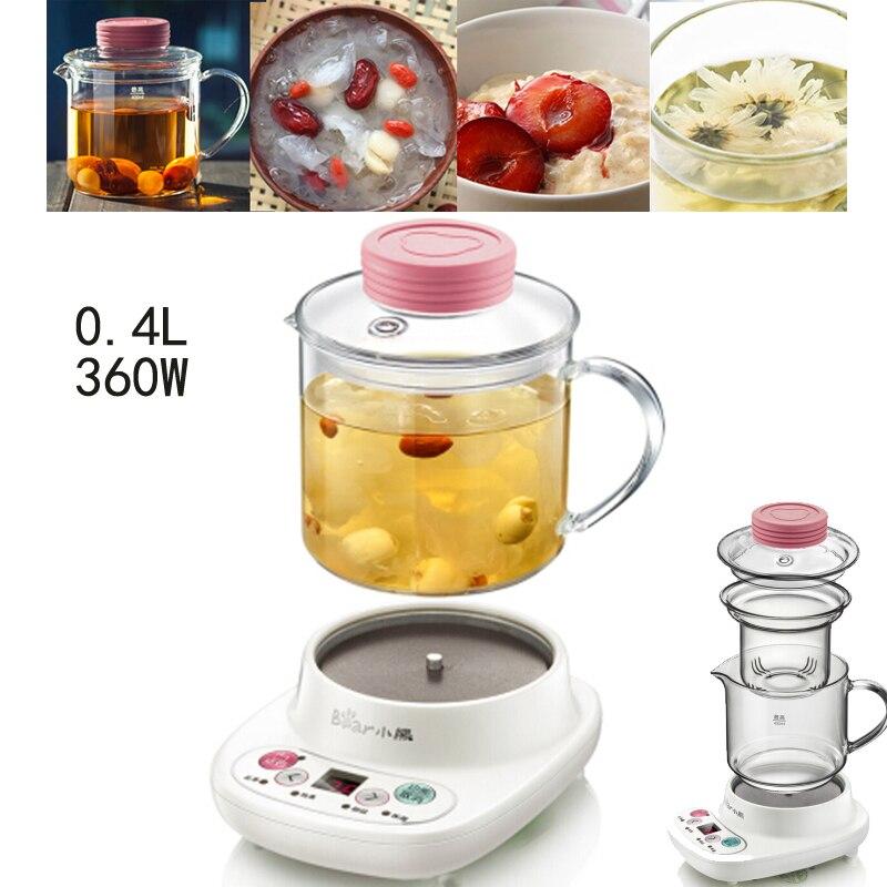 22%, электрические чайники чайник для поддержания здоровья 0.4L с фильтром прозрачное стекло Теплоизоляция чайник с цветами разделение Тип A03C5